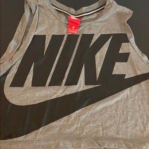 Nike grey crop top big logo